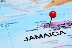 Savanna la Mar pinned on a map of America - stock photo
