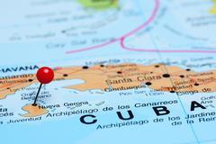 Nueva Gerona pinned on a map of America Stock Photos