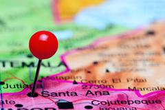 Santa Ana pinned on a map of America - stock photo