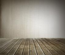 Wooden floorboards and blank wall Stock Photos