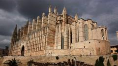 Timelapse Gothic Roman Cathedral Santa Maria La Seu, in Palma de Mallorca, Spain Stock Footage
