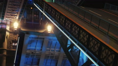 Tower Bridge Opening Lifts at Night Close-up Stock Footage