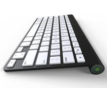 Black keyboard - side view, on white background, ideal for digital and print - stock illustration