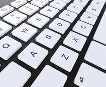 Black keyboard with white keys, closeup shot. Stock Illustration