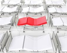 White hospital beds - red bed standing out Stock Illustration