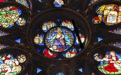 Jesus Christ Rose Window Stained Glass Sainte Chapelle Paris France - stock photo