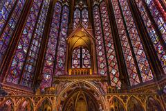 Stained Glass Cathedral Altar Arch Sainte Chapelle Paris France - stock photo