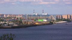 Port river ships bridge city Stock Footage