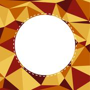 Triangular background in warm muted colors with white circle with copyspace - stock illustration