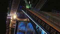 Tower Bridge Closing Lifts at Night Close-up Stock Footage