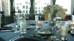 Banquet table slow pan Stock Footage