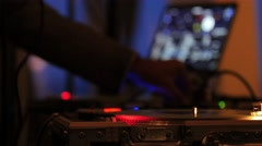 DJ turntable low wide shot Stock Footage