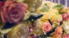 Flowers at wedding rack focus - stock footage
