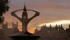 Big Ben Framed by the Torsion Fountain Stock Footage