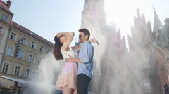 Attractive young couple in the downtwon - 360 degrees view - stock footage