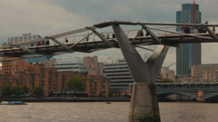 Millennium Bridge Commuters Stock Footage