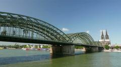 4K UHD Skyline Cologne Köln Kölner Dom n Container Cargo barge passing Stock Footage