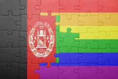 puzzle with the national flag of afghanistan and gay flag - stock photo