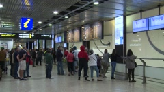 Airport Arrivals Signage with crowd waiting Stock Footage