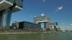 4K UHD POV Skyline Cologne Köln Rheinauhafen 3 Kranhaus Crane Houses n harbour Stock Footage