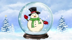 Snow Globe Waving Snowman Stock Footage