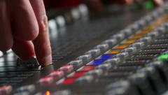 Audio board: audio console closeup footage Stock Footage
