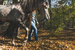 Detail of a girl standing by her grey horse - stock photo