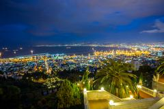 Panorama of Haifa - port and Bahai garden, Israel Stock Photos