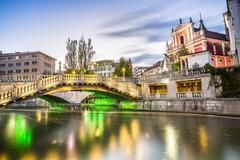 Ljubljana city center - Tromostovje, Slovenia Stock Photos