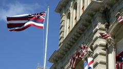 Hawaiian Flag at Iolani Palace in Oahu Hawaii Stock Footage