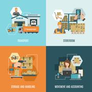 Storehouse 4 flat icons square composition - stock illustration