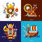 Viking Army Icons Set - stock illustration