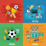Soccer Flat Set Stock Illustration