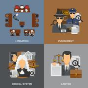 Law Flat Set Stock Illustration