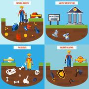 Flat Color  Archeology Design Concept Set Stock Illustration