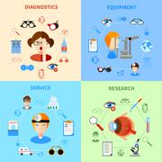 Ophthalmology And Eyesight Icons Set - stock illustration