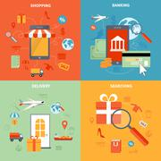 M-commerce And Shopping Icons Set Stock Illustration