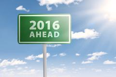 Signboard with new year of 2016 ahead - stock photo
