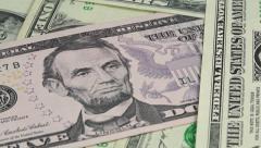 Rotating dollar banknotes focusing Stock Footage