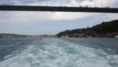 Passing under Fatih Sultan Mehmet Bridge over the Bosphorus Strait in Istanbul s Stock Footage