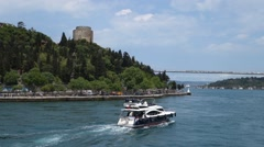 Cruising in the Bosphorus Strait in Istanbul Turkey Slow motion. Stock Footage