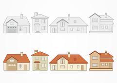Set of suburban homes. Vector illustration Stock Illustration