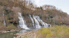 Twin Falls Rock Island State Park Tennessee Awesome Waterfall Set Establishing - stock footage