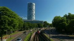 4K UHD Cologne Köln Traffic Tram way with Triangle Building Stock Footage