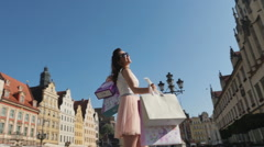 Happy woman on shopping trip - 360 degrees view Stock Footage