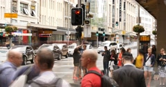 George St Sydney Australia city street traffic and people time lapse Stock Footage