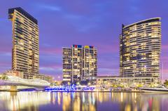 Modern residential buildings in Docklands, Melbourne at twilight Stock Photos