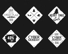 Set of Christmas, cyber monday sale ink, watercolor banners, labels, badges - stock illustration