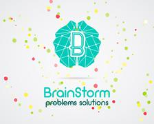 Brainstorm, brain, creation and idea logo template and elements. Solve problems Stock Illustration