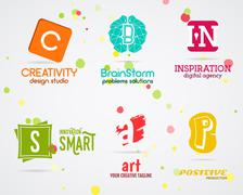 Set of Vector abstract creative logo design. Art studio. Abstract logotype - stock illustration
